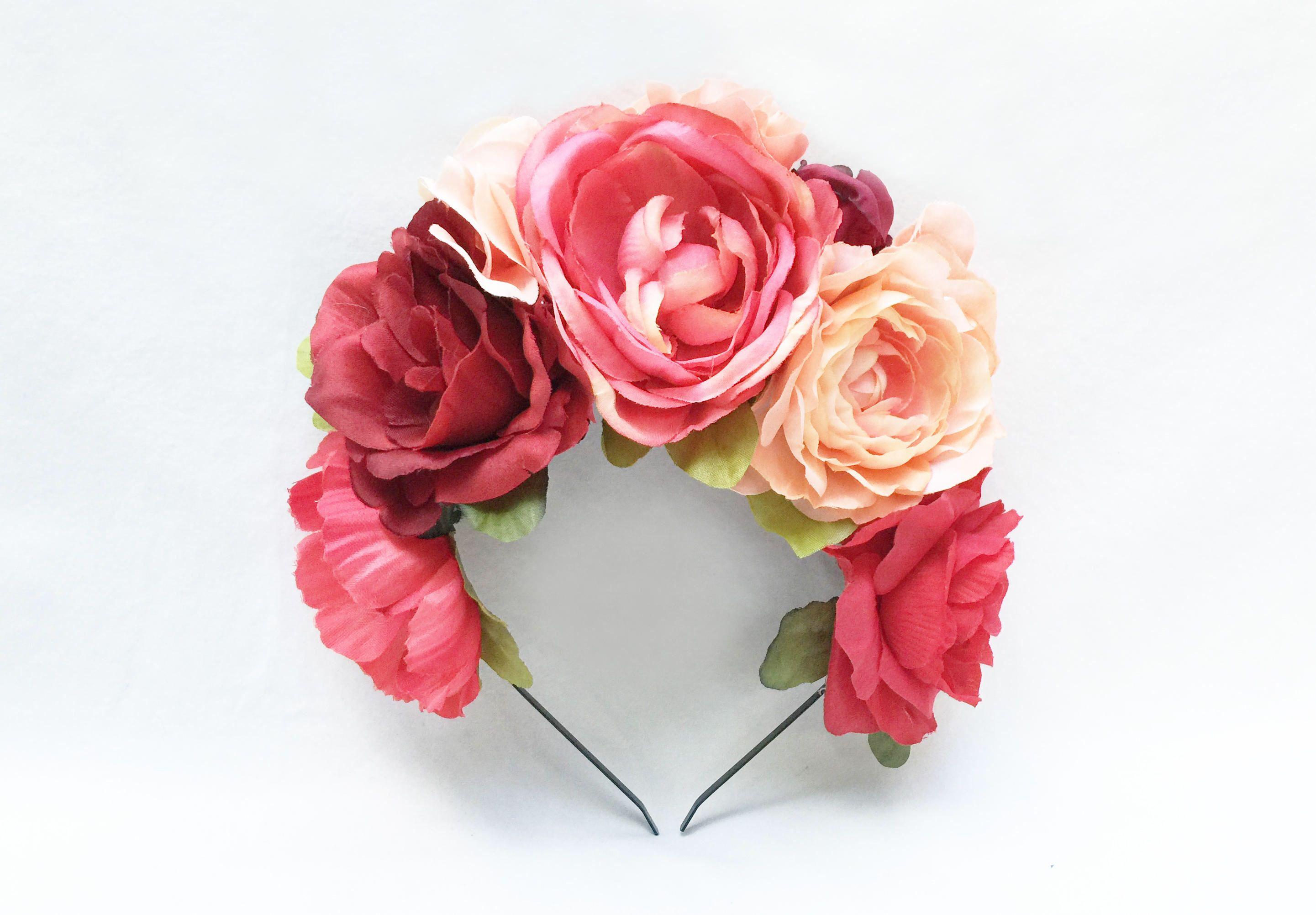 Pink mexican flower crown peach floral crown fiesta frida flower pink and peach flower headpiece mexican flower crown floral crown fiesta frida kahlo rhubarb flower headband floral headband izmirmasajfo