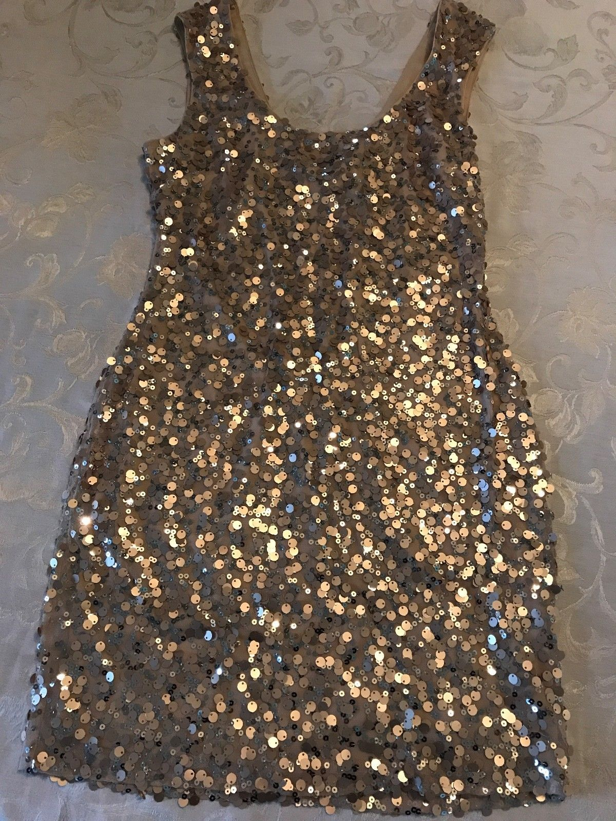 Awesome great womenus guess sparkly gold sequin sleeveless cocktail