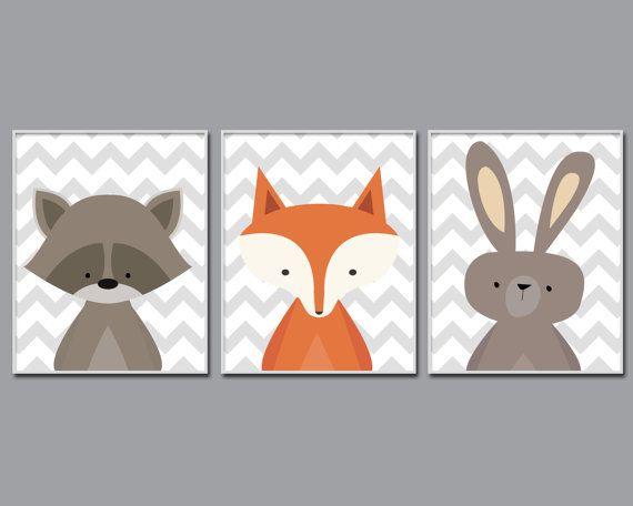 Baby Nursery Art Baby Woodland Nursery Art Fox Racoon by HopAndPop