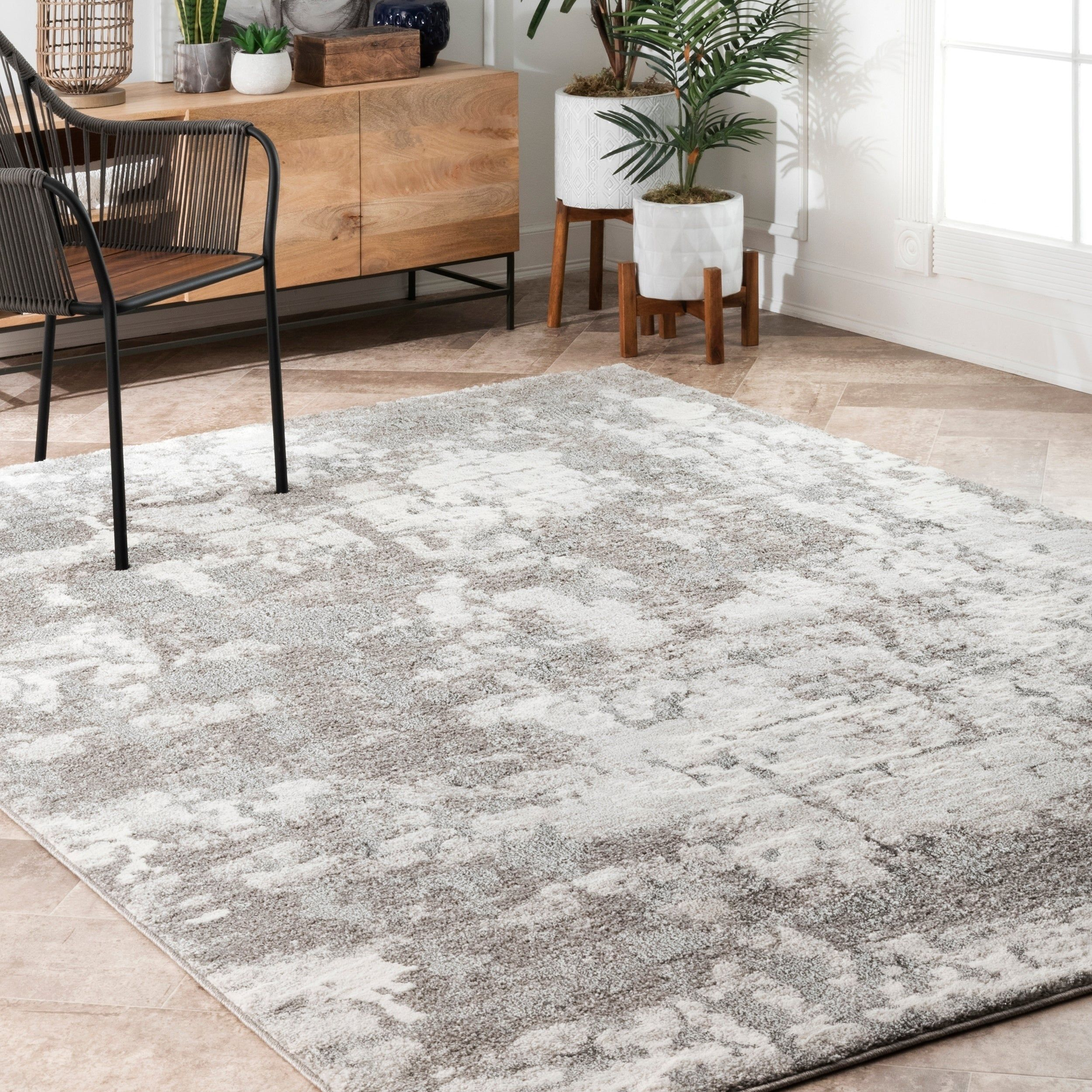 Nuloom Contemporary Abstract Magana Area Rug 5 X 8 Silver