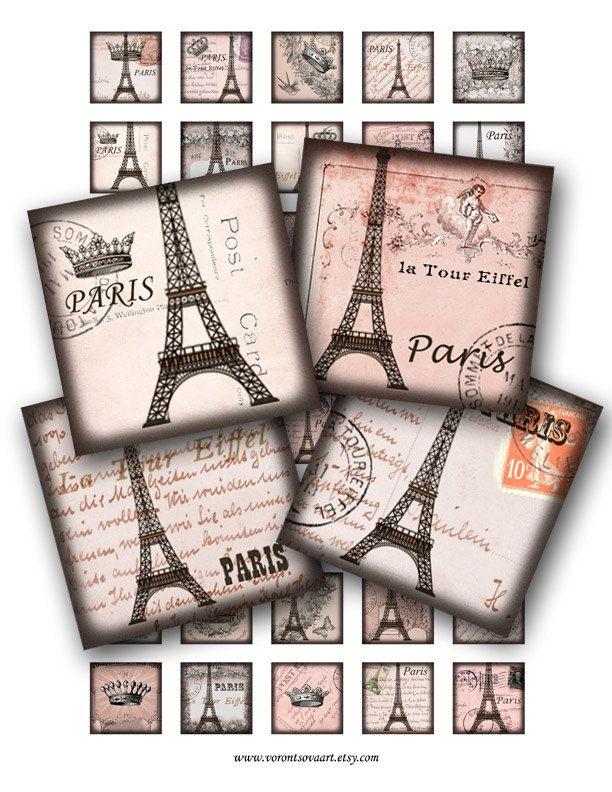 Vintage Paris Eiffel tower  Winter Rose. 1x1 inch scrabble tiles. Digital Collage sheet. Printable image square tiles. 306