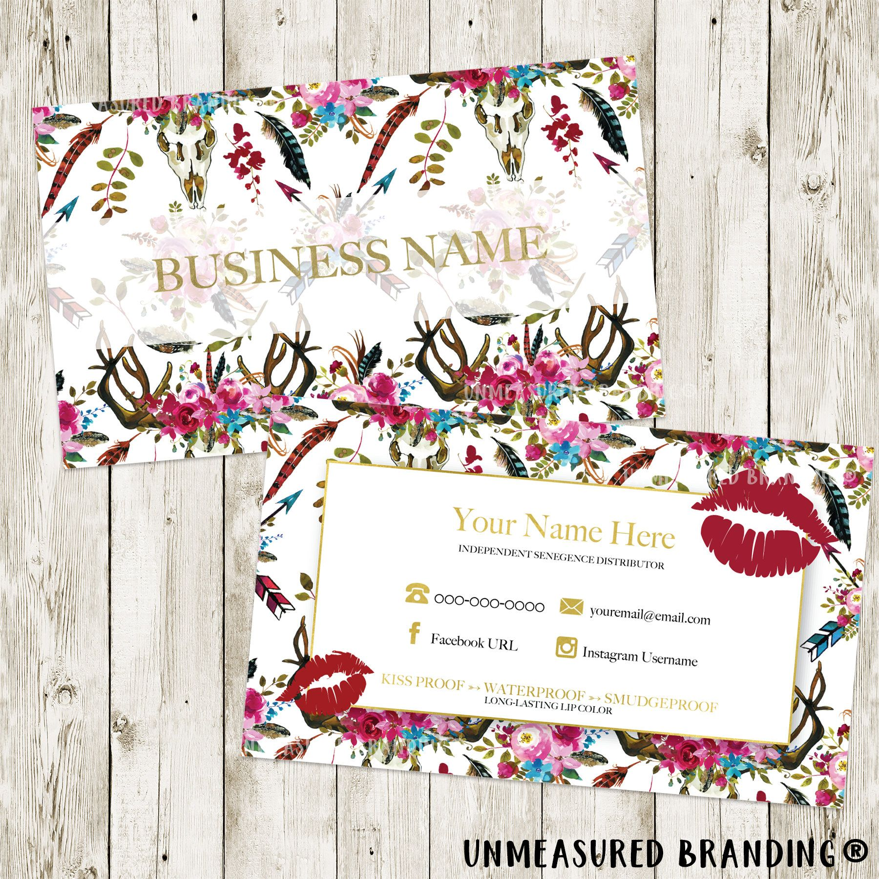 LipSense Business Cards, Business Cards, Digital Files, LipSense Printable, LipSense Cards, Boho Business Cards, SeneGence, LipSense by UnmeasuredBranding on Etsy