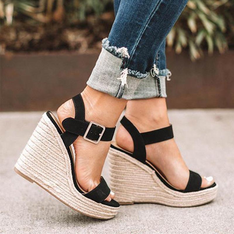 Ladies Women Summer Wedge Platform High Heel Espadrilles Sandals Casual Shoes