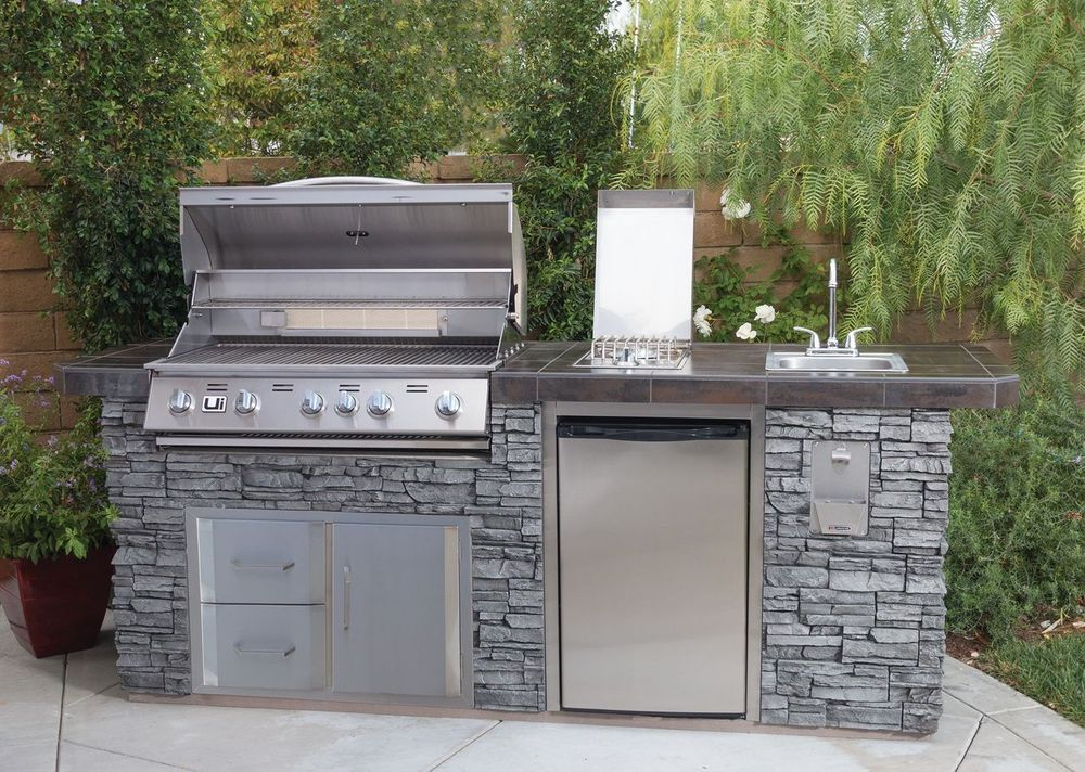Urban Islands 5 Burner Deluxe Faux Rock Island Grill Outdoor Kitchen Outdoor Kitchen Design Small Outdoor Kitchens
