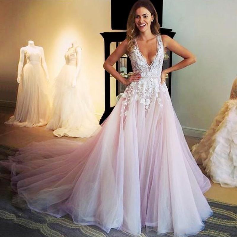 Hot Sale 2016 Fashion 3d Floral Appliques Prom Dresses Sexy Deep V ...