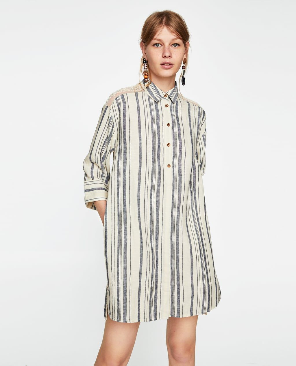 ae80ad18df STRIPED LINEN DRESS from Zara