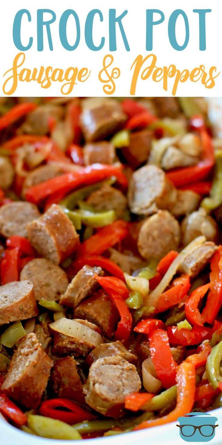 Crock pot sausage and peppers #sausagedinner