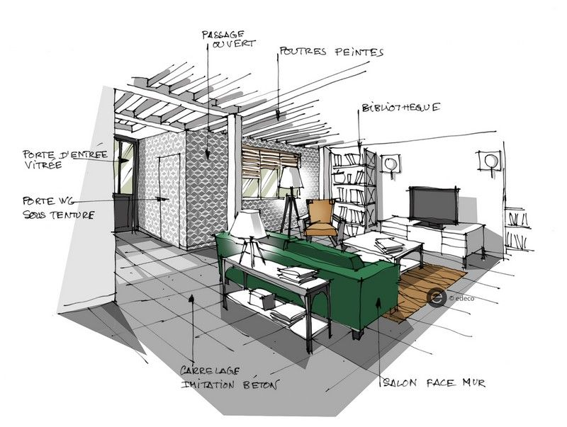 Croquis architecture int rieure salon et canap vert for Design et architecture