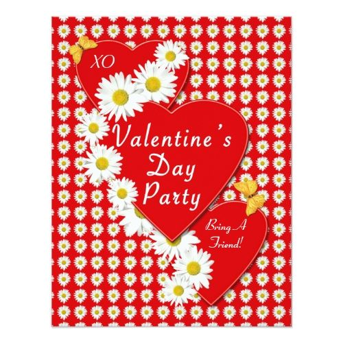 Valentine Party Daisies Small Invitation  Party Invitations