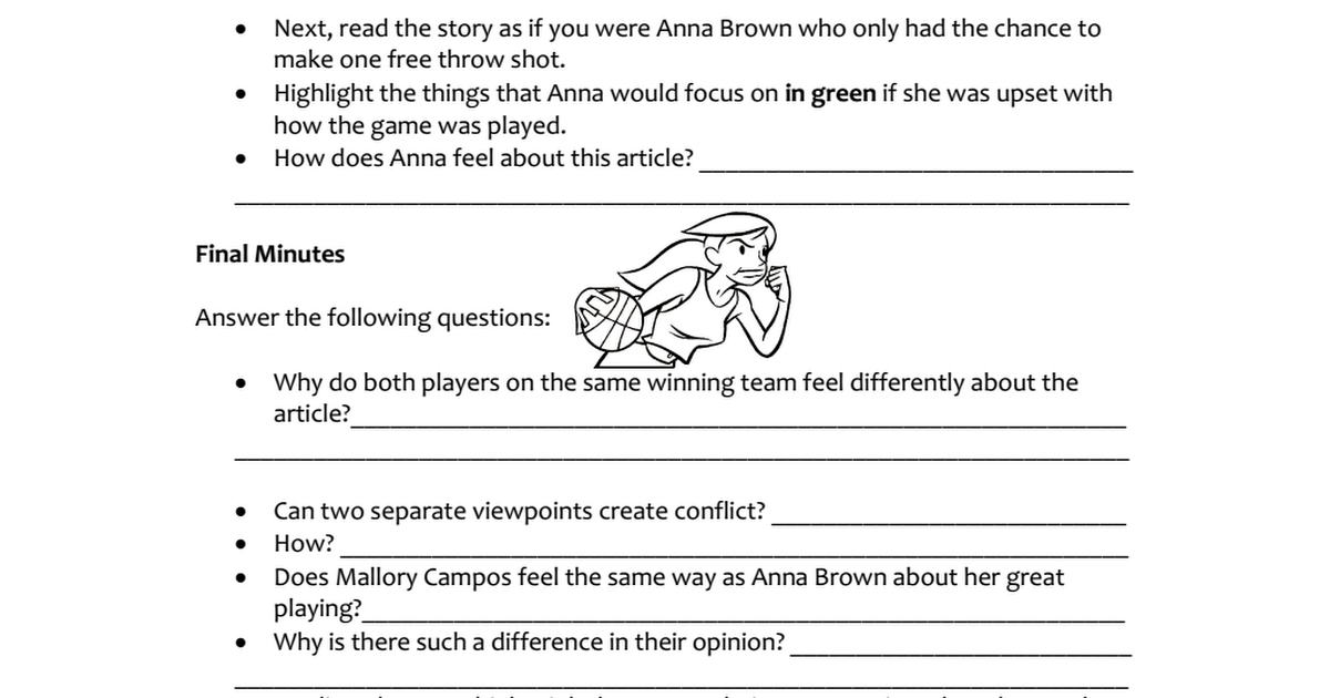 Basketball Point Of View Pdf With Images Literacy Stations Student Activities Educational Tools