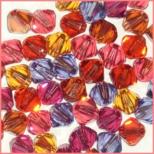 48 4mm Xilion 5328 Heat Mix Swarovski Crystals Bicone Pink Purple Red Yellow $4.98