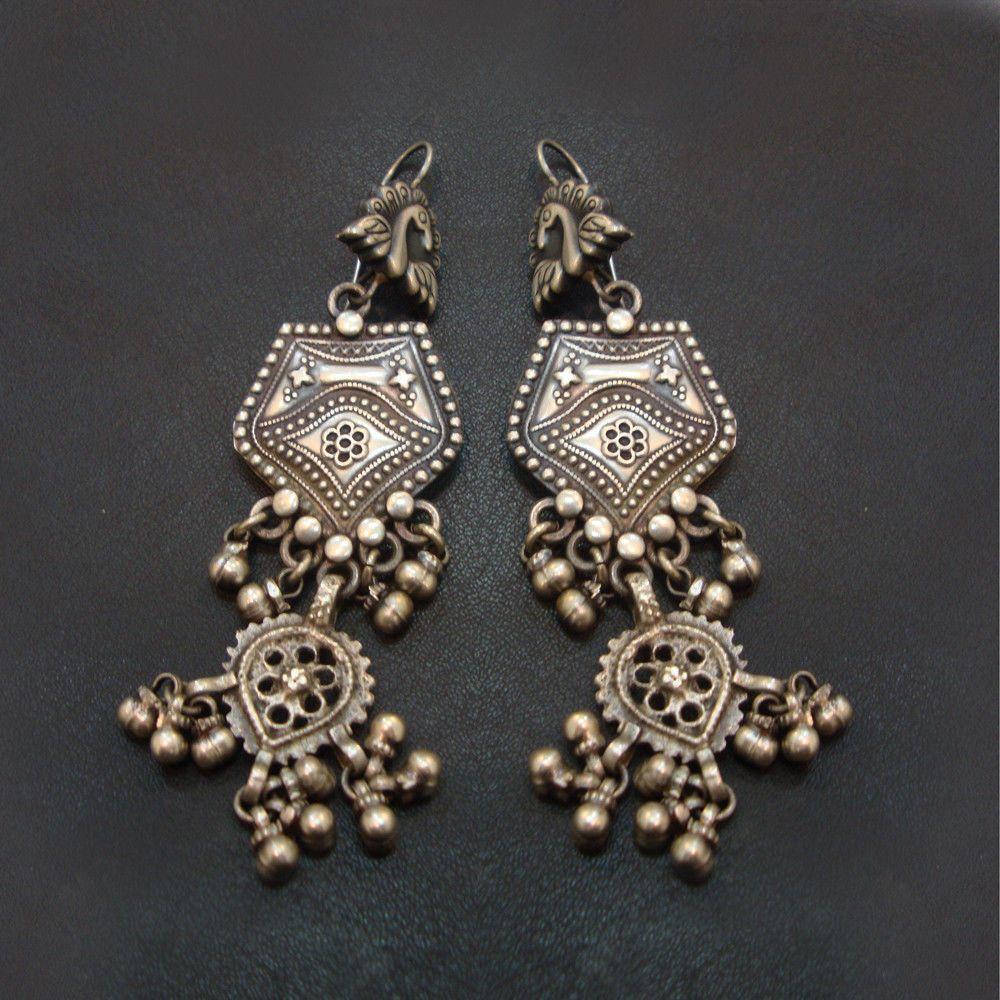 f6e773ea1 Antique Vintage Old Silver Peacock Design Handmade Lovely Earrings Jewelry  #Handmade