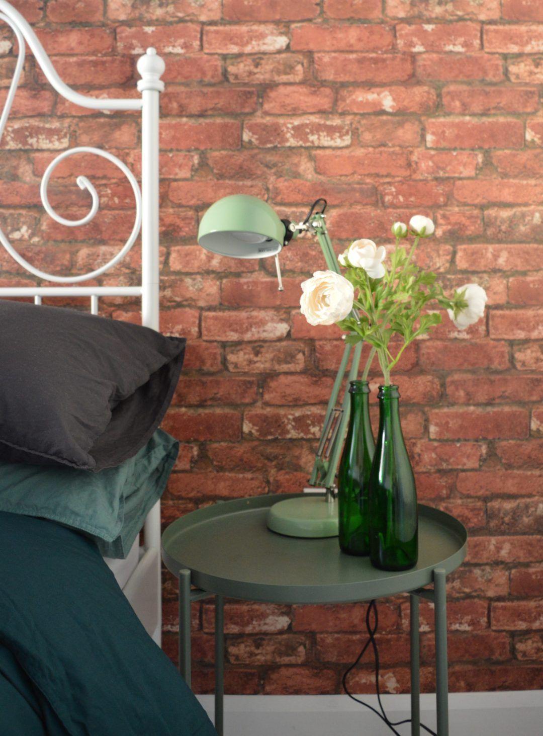 After Master Bedroom Brick Wallpaper Green Flower Ikea Gladom Tray Table Dark Green Forsa Work Lamp Green Ev Dekoru Dekor Evler