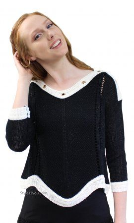 143cf525ce Nautica Open Cable Knit Sweater With Grommets In Black   Cream ...