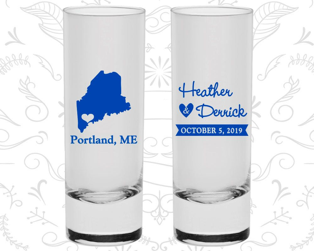 Maine Shooters, Maine Wedding, Wedding Shooter Glass, Destination Shooters, State Shooters, Tall Shot Glass (118)