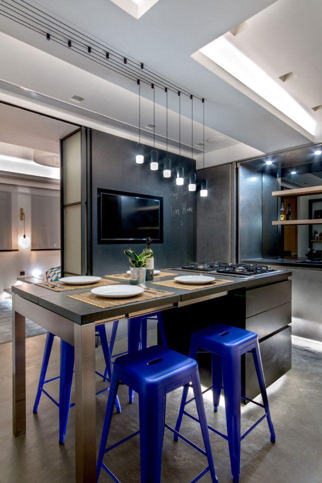Rooftop Apartment 6 Kitchen Design Kitchen Island Table White Granite Countertops