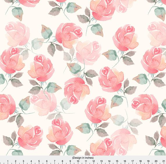 Watercolor Rose Fabric Beautiful Roses By Gribanessa Rose