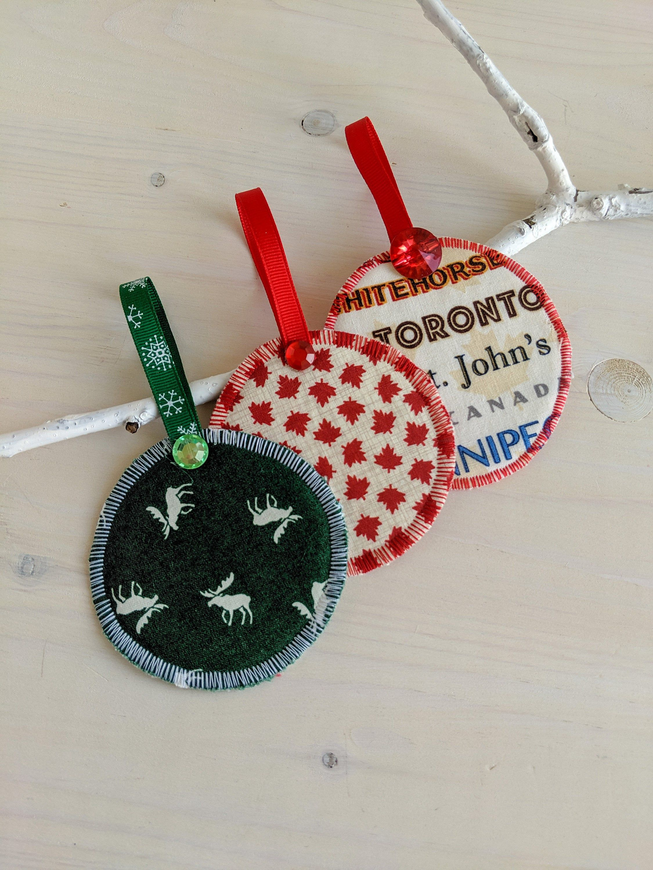 Fabric Holiday Ornament Set; Canadian Christmas