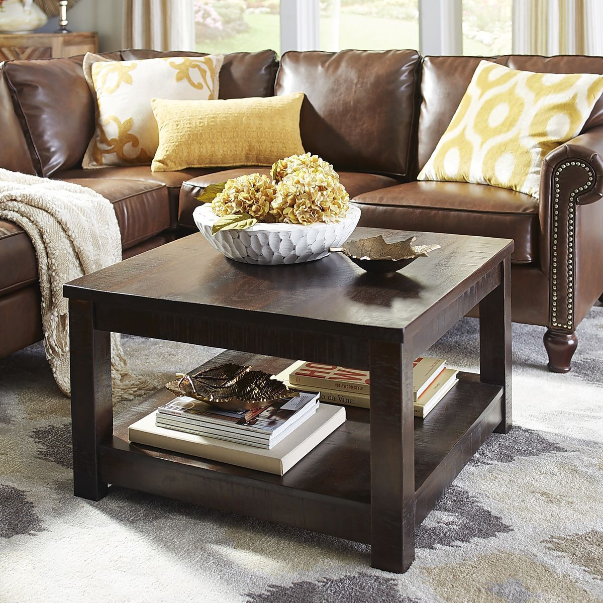 Parsons Tobacco Brown Square Coffee Table Pier 1 Imports