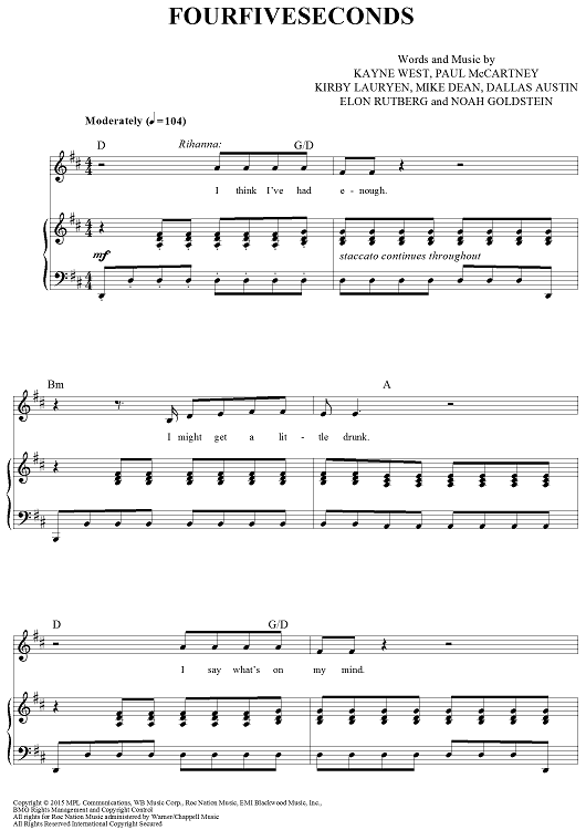 """""""Four Five Seconds"""" Sheet Music by Paul McCartney, Kanye West, and Rihanna from OnlineSheetMusic.com"""