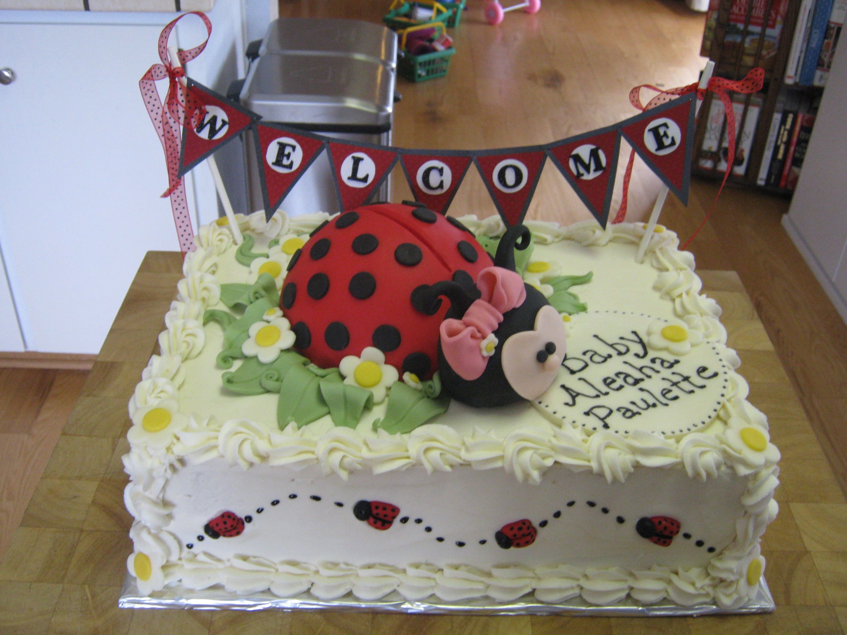 Ladybug baby shower cake Double layer half sheet cake WASC cake