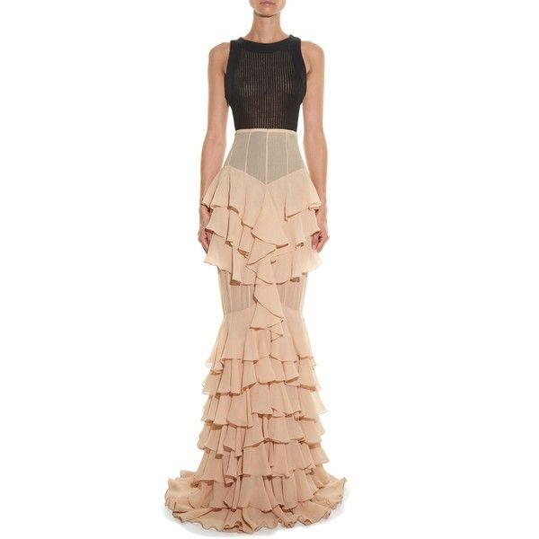 Balmain Ruffled silk long skirt ($2,886) ❤ liked on Polyvore featuring skirts, long tiered skirt, pink long skirt, ruffle skirt, long skirts and flounce skirt