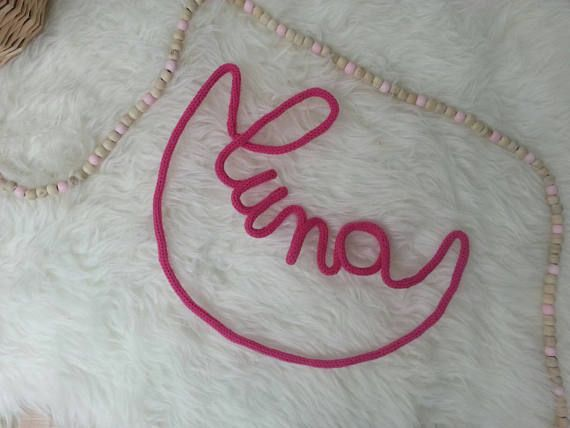 Moon in knitting for baby\u0027s room name where child birthday gift