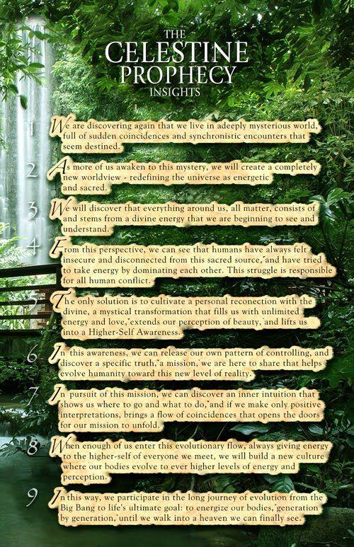 Nine Insights To Live By Celestine Prophecy Celestine Prophecy