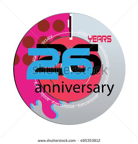 26 years anniversary logo with pink color disc. anniversary logo for birthday, wedding, celebration and party