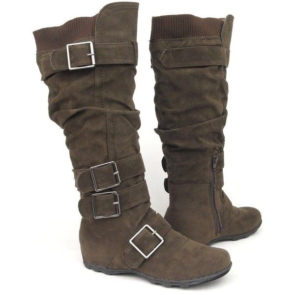 PU Artifical Suede Buttle Women Boots