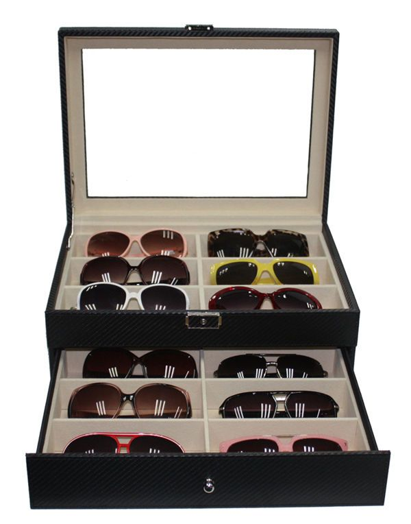 285eb190c3aaa 12 BLACK CARBON EYEGLASS SUNGLASS OVERSIZED STORAGE DISPLAY CASE WATCH  ORGANIZER