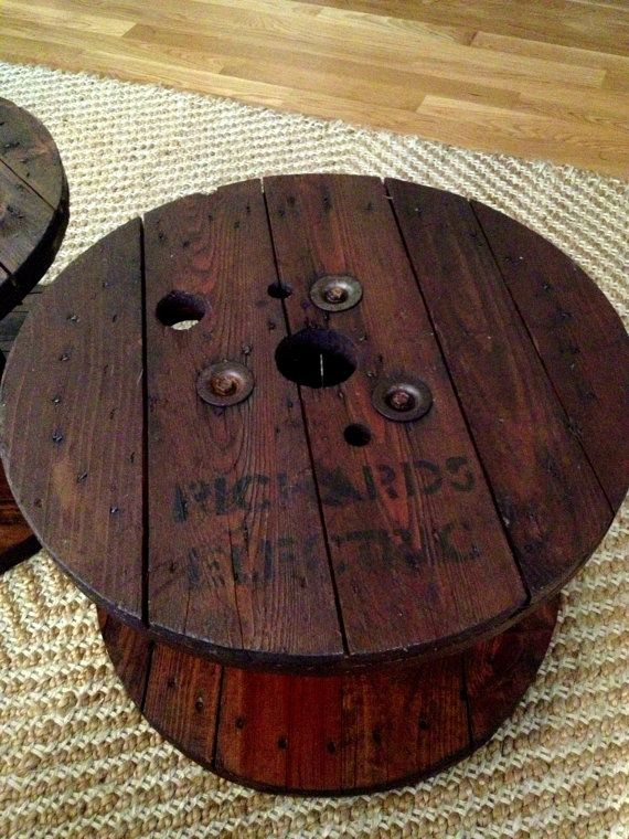 cable spool wooden coffee table via etsy | furniture | pinterest
