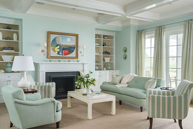 Mint Colored Traditional Living Room Coastal Decorating Living Room Coastal Cottage Living Room Coastal Living Rooms