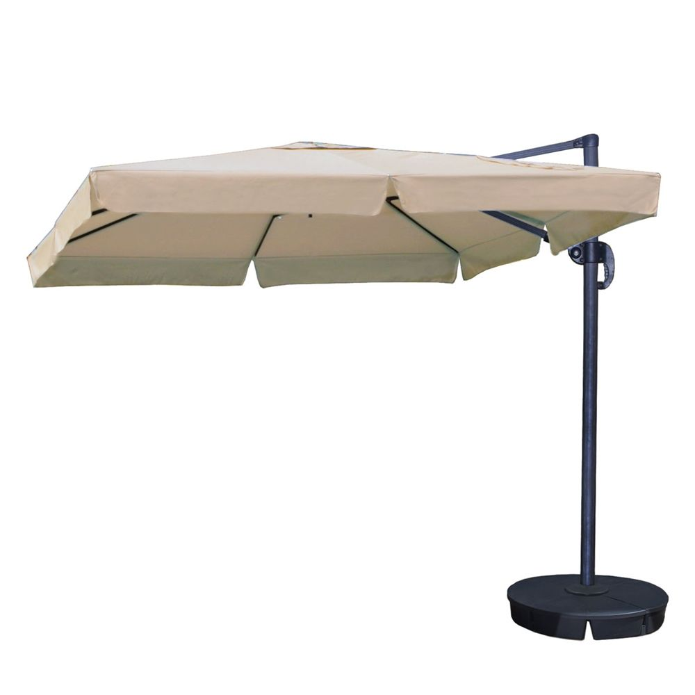 Shop Island Umbrella Nu61 Santorini Ii 10 Ft Square Cantilever Umbrella With Valance And Sunbrella Fabric At The Min Cantilever Umbrella Steel Canopy Umbrella