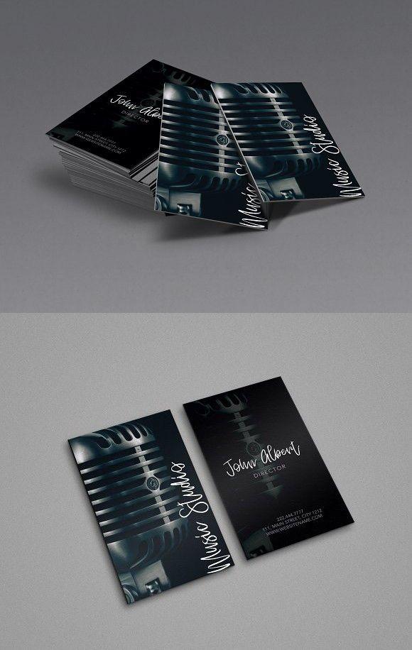 Music studio singer business card | Business cards, Unique business ...