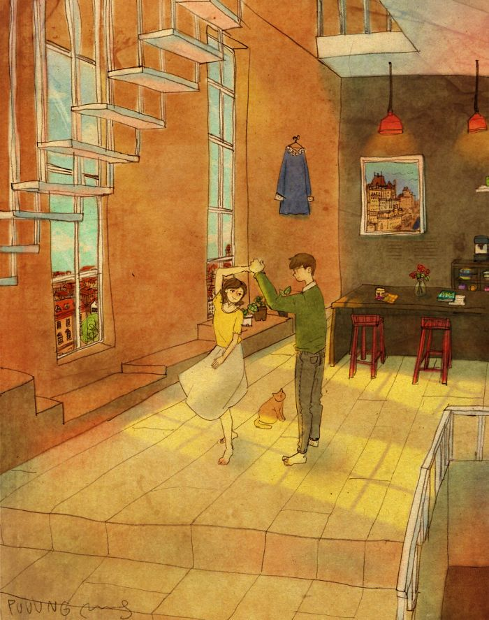 """""""Love is something that everybody can relate to. And Love comes in ways that we can easily overlook in our daily lives. So, I try to find the meaning of love in our daily lives and make it into artwork."""" - Puuung"""