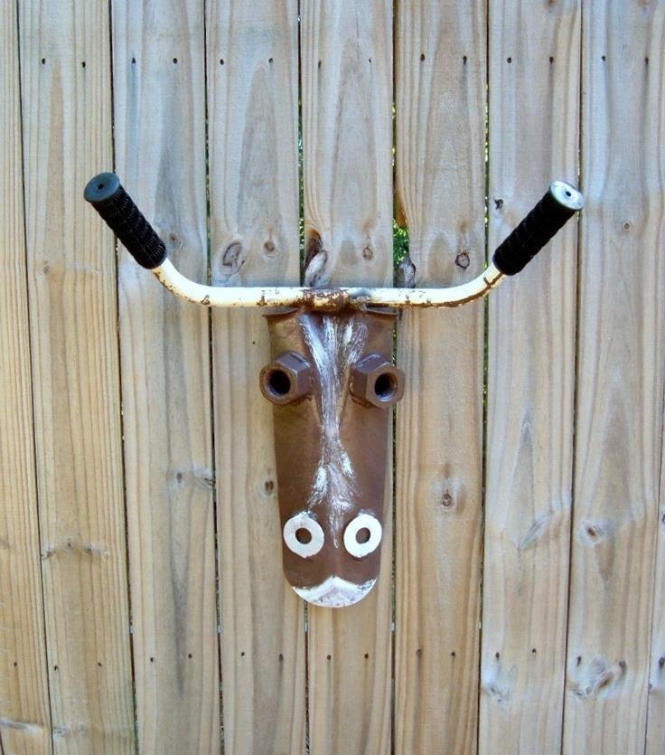 GARDEN ART ~ Handle bar cow tool art by FrogLevelFarm on Etsy.