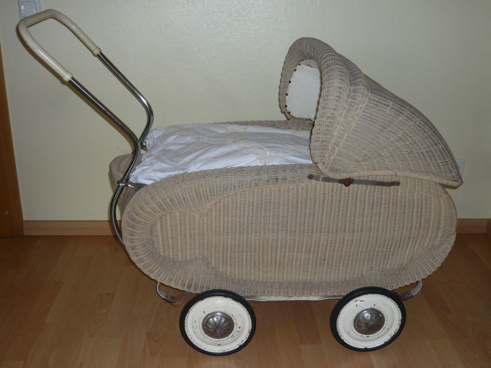 Antik Kinderwagen - Puppenwagen groß - Korbkinderwagen - Korbgeflecht | eBay