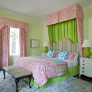 Pink And Green Girl S Room Transitional Nursery Girls Bedroom Green Girls Bedroom Green Girls Rooms