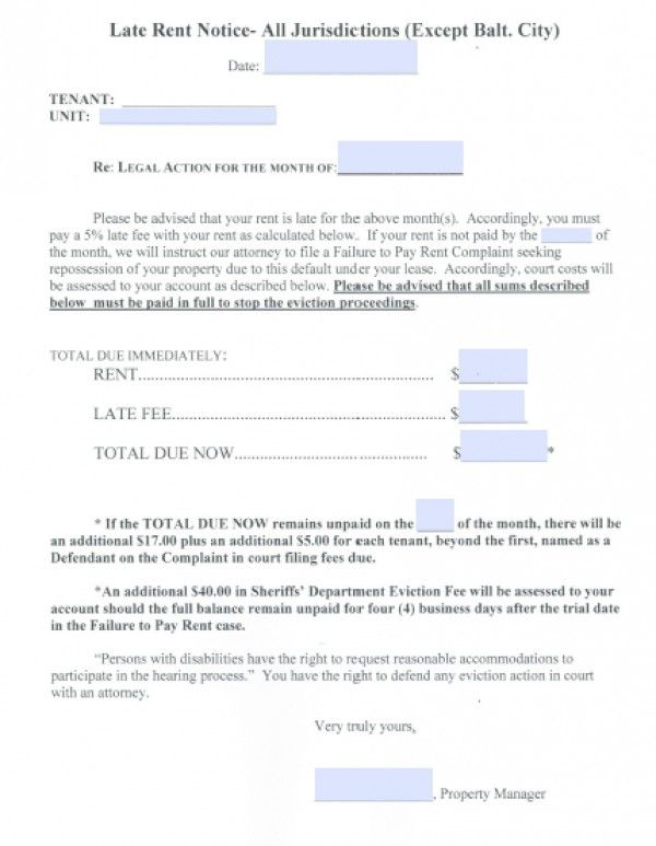 Printable Sample Late Rent Notice Form  Real Estate Forms Word