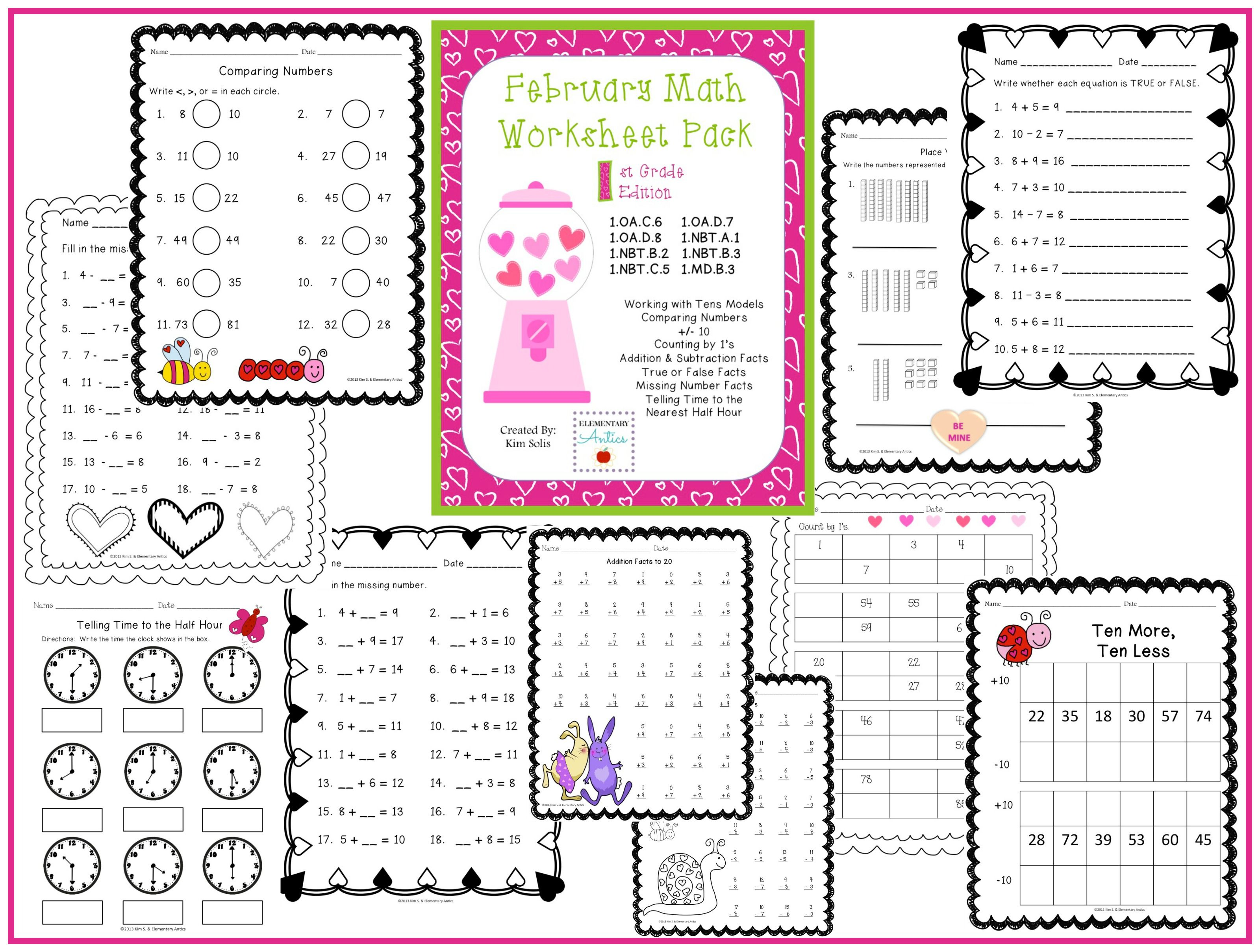 February Math Worksheet Pack 1st Grade