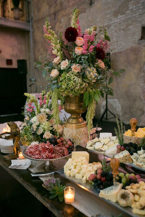 Simple Elegant Black Tie Wedding Food Buffet