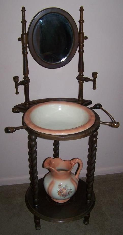 Details About Antique Wooden Wash Stand Vintage Mirrored