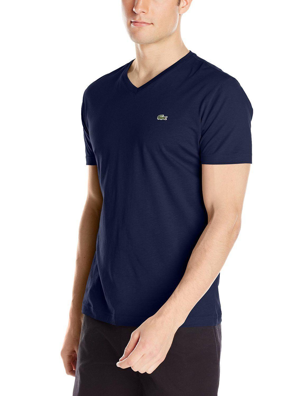 5186e3a7f6 Lacoste Short Sleeve Jersey Pima Regular Fit V Neck T-Shirt - Mens ...