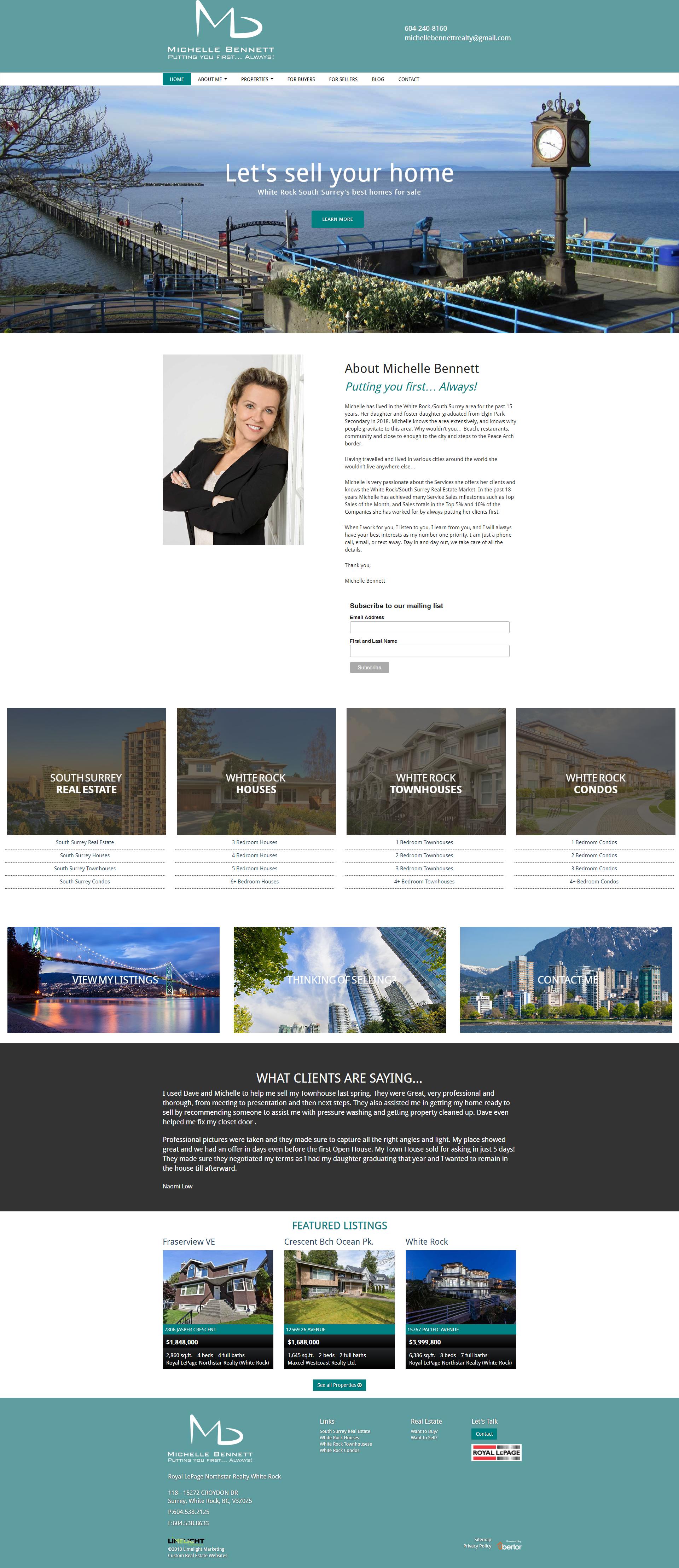 New Website Using The Ubertor Cms For White Rock South Surrey Realtor Michelle Bennett Responsive And Mobile Ready Michelle Bennett Website Design Condo