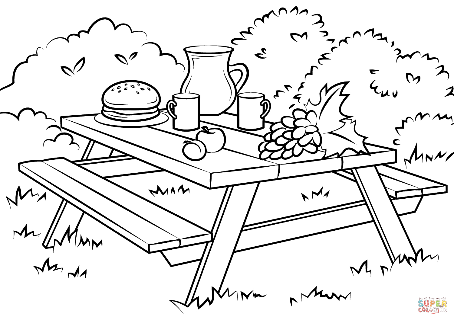 Picnic Table Coloring Page Free Printable Coloring Pages Coloring Pages Free Printable Coloring Free Printable Coloring Pages