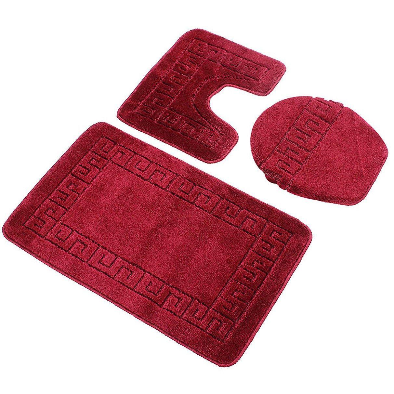 Burgundy Red 3 Piece Bath Rug Set Includes