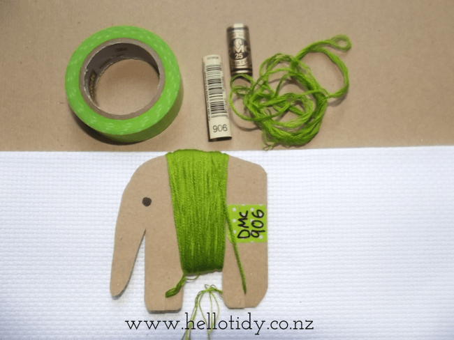 Make your own elephant floss bobbin with kraft card, and
