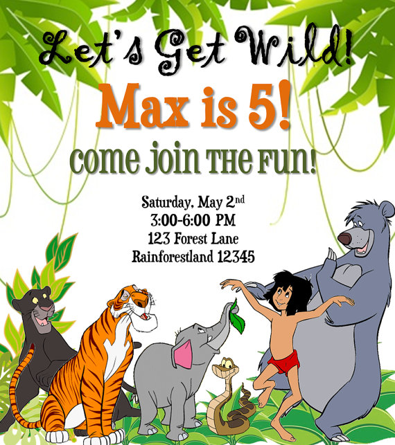 The jungle book birthday invitation birthdays jungle book party jungle party stopboris Choice Image