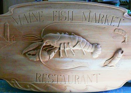 Maine Fish Market Carved Wooden Sign   Danthonia Designs Blog